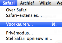Safari menu icoon
